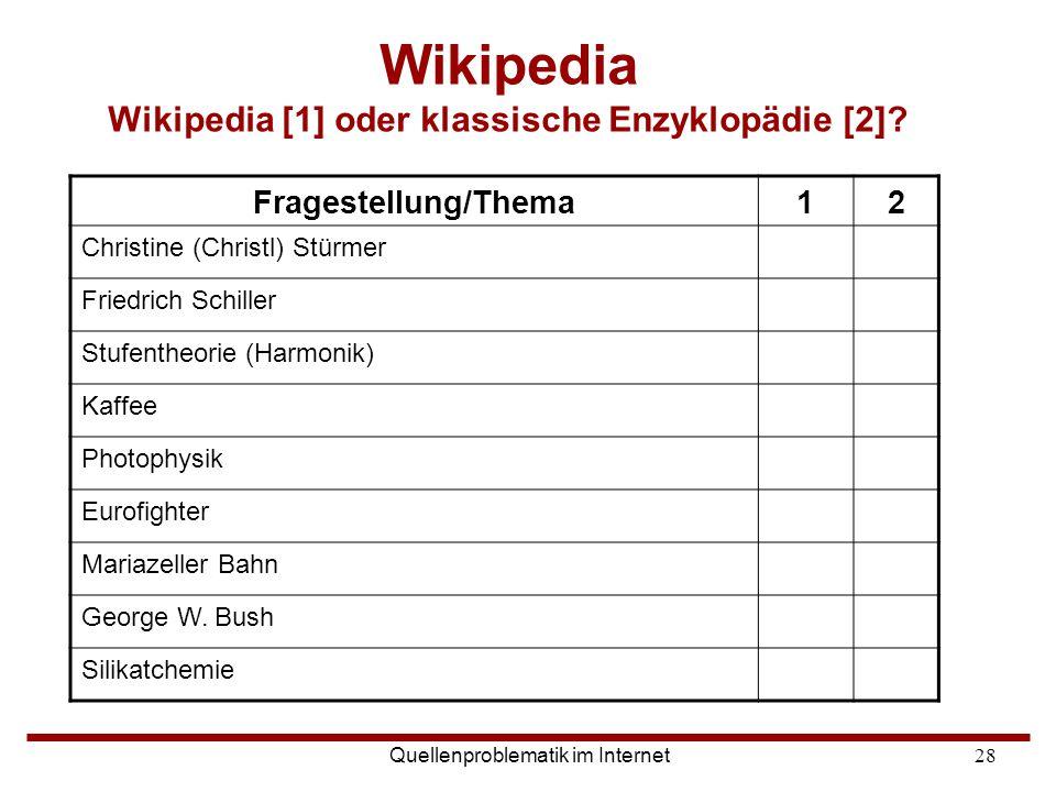 Wikipedia Wikipedia [1] oder klassische Enzyklopädie [2]